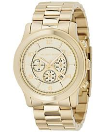 Men's Chronograph Runway Gold-Tone Stainless Steel Bracelet Watch 44mm MK8077