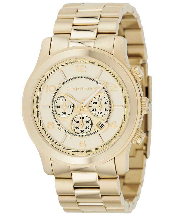 Michael Kors - Men's Chronograph Runway Gold-Tone Stainless Steel Bracelet Watch 44mm MK8077