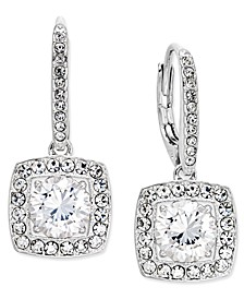 Silver-Tone Crystal Square Drop Earrings, Created for Macy's