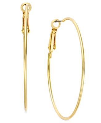 Image of INC International Concepts Gold Tone Medium Wire Hoop Earrings, Created for Macy's