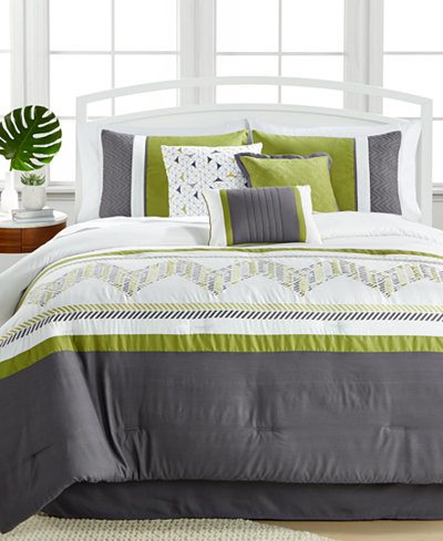 Lemoore Green 7-Pc. Embroidered Comforter Sets - Bed in a Bag ...