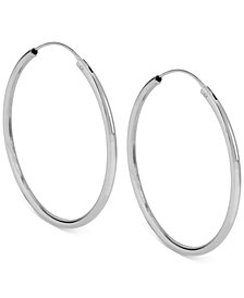 Kenneth Cole New York Silver-Tone Medium Hoop Earrings