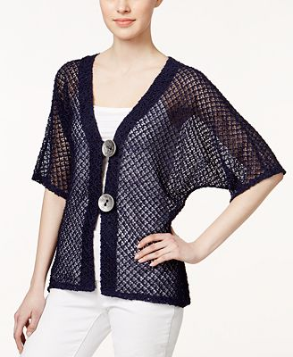 JM Collection Short-Sleeve Open-Knit Cardigan, Only at Macy's ...