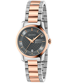 Gucci Women's Swiss G-Timeless Two-Tone PVD Stainless Steel Bracelet Watch 27mm YA126527