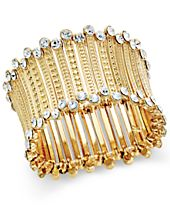 INC International Concepts Gold-Tone Crystal-Trim Stretch Cuff Bracelet, Created for Macy's