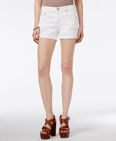 AG Cuffed White Wash Denim Shorts - Shorts - Women - Macy's
