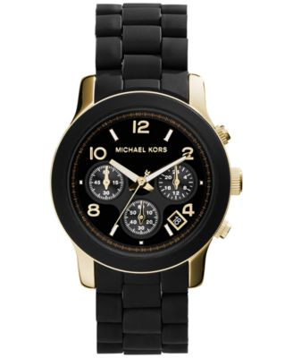 Michael Kors Women\u0026#39;s Chronograph Runway Gold-Tone Stainless Steel and Black Polyurethane Bracelet Watch 38mm