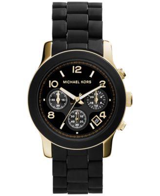 Michael Kors Women\u0026#39;s Chronograph Runway Gold-Tone Stainless Steel and Black Polyurethane Bracelet Watch 38mm
