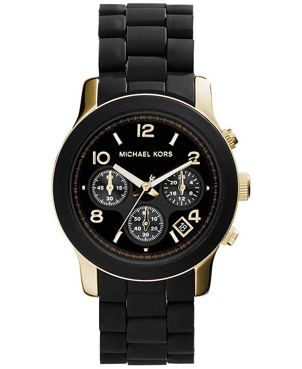 Michael Kors Women's Chronograph Runway Gold-Tone Stainless Steel and Black Polyurethane Bracelet Watch 38mm MK5191