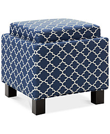 Kylee Fabric Bird Script Accent Storage Ottoman, Quick Ship