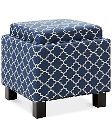 Lisa Fabric Bird Script Accent Storage Ottoman, Quick Ship
