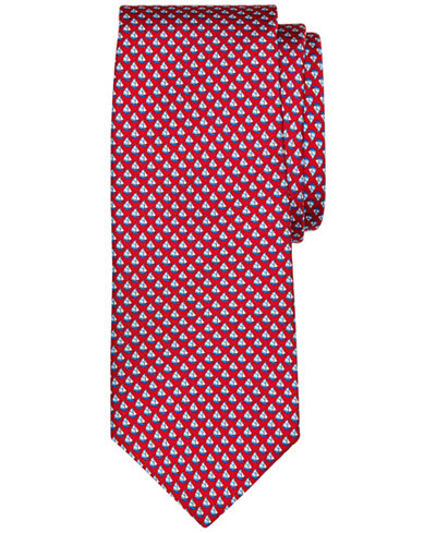 Brooks Brothers Men's Micro-Sailboat Pattern Classic Tie