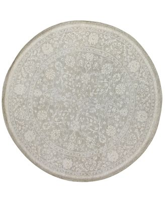 CLOSEOUT!  Fine Rug Gallery, One of a Kind, Manali B600168 Grey 8' Round Hand-Knotted Rug