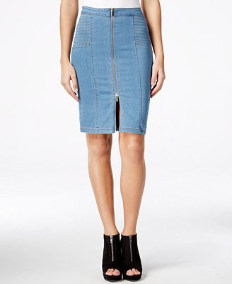 Marilyn Monroe Juniors' Zip-Front Denim Midi Pencil Skirt ...