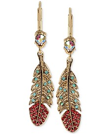 Betsey Johnson Gold-Tone Crystal and Pavé Feather Drop Earrings