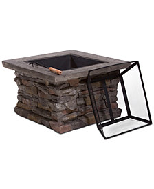 Ashten 3-Pc. Square Wood Fire Pit Set, Quick Ship