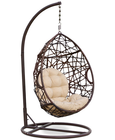 Dustan Wicker Swing Chair, Quick Ship