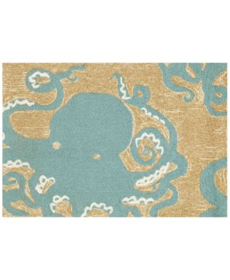 Liora Manne Front Porch Indoor/Outdoor Octopus Aqua 2' x 3' Area Rug