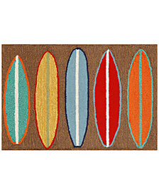 Liora Manne Front Porch Indoor/Outdoor Surfboards Brown Area Rug