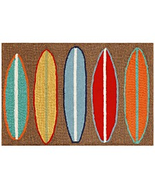 Liora Manne Front Porch Indoor/Outdoor Surfboards Brown Area Rug