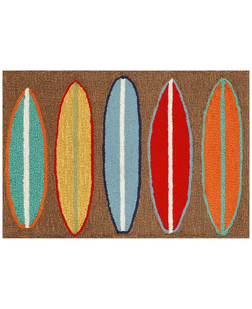 Liora Manne' Liora Manne Front Porch Indoor/Outdoor Surfboards Brown Area Rug