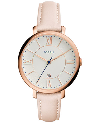 fossil women s jacqueline blush leather strap watch 36mm es3988 fossil women s jacqueline blush leather strap watch 36mm es3988