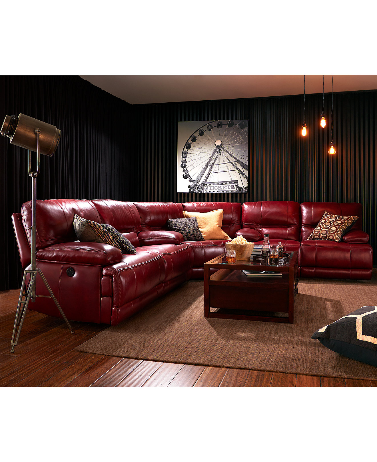 randi leather power reclining sectional sofa collection