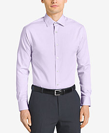 Calvin Klein STEEL Men's Classic-Fit Non-Iron Performance Herringbone Spread Collar Dress Shirt