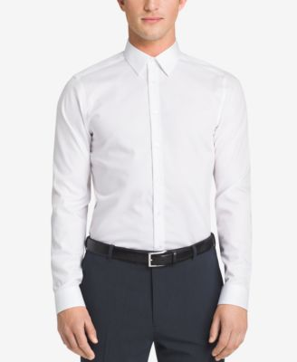 Image of Calvin Klein STEEL Men's Slim-Fit Non-Iron Performance Herringbone Dress Shirt