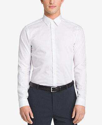 Calvin klein steel men 39 s slim fit non iron performance for White herringbone dress shirt