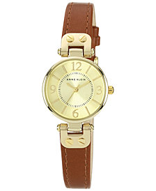 Anne Klein Women's Brown Leather Strap Watch 10-9442CHHY