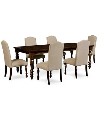 Kelso 7 pc dining set dining table 6 side chairs for Macys dining table