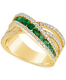 Emerald (9/10 ct. t.w.) and Diamond (3/4 ct. t.w.) Crisscross Ring in 14k Gold