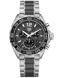 TAG Heuer Men's Swiss Chronograph Formula 1 Two-Tone Stainless Steel and Ceramic Bracelet Watch 43mm
