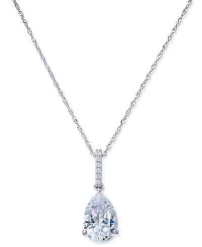 Arabella Swarovski Zirconia Teardrop Pendant Necklace in 14k White Gold