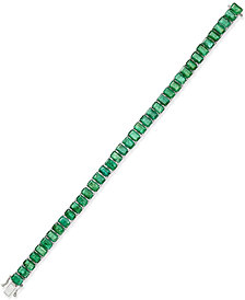 Emerald Tennis Bracelet (25 ct. t.w.) in Sterling Silver, Created for Macy's