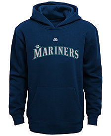 Majestic MLB Worldmark  Seattle Mariners Fleece Hoodie, Little Boys (4-7)