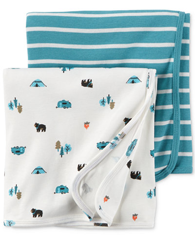 Carter's Baby Boys' 2-Pack Little Wild One Swaddle Blankets