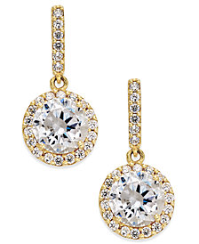 Cubic Zirconia Round Halo Drop Earrings in 10k Gold