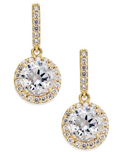 Cubic Zirconia Round Halo Drop Earrings in 10k Gold