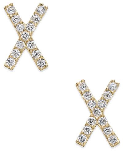 Cubic Zirconia Crisscross Stud Earrings in 10k Gold