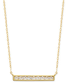 Cubic Zirconia Bar Pendant Necklace in 10k Gold