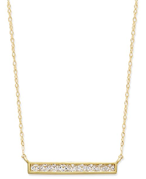 Macy's Cubic Zirconia Bar Pendant Necklace in 10k Gold