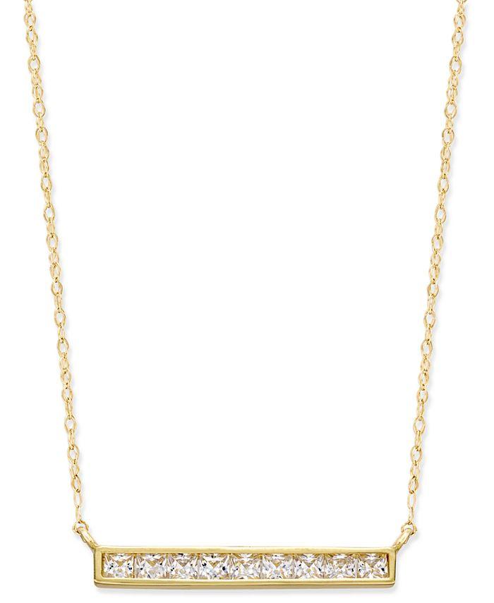 Macy's - Cubic Zirconia Pavé Bar Pendant Necklace in 10k Gold