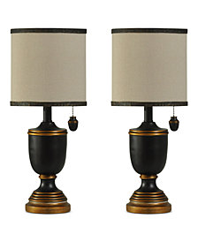 StyleCraft Set of 2 Black and Brass-Tone Traditional Mini Table Lamps