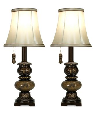 StyleCraft Set of 2 Trieste MarbleAccent Mini Table Lamps