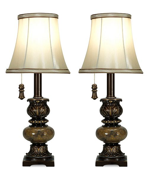 Stylecraft set of 2 trieste marble accent mini table lamps main image aloadofball Gallery
