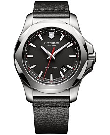 Victorinox Swiss Army Men's Swiss I.N.O.X. Black Leather Strap Watch 43mm 241737.1