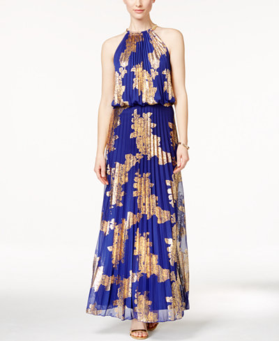 Msk Metallic Print Pleated Blouson Gown