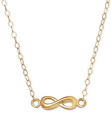 Polished Infinity Pendant Necklace in 10k Gold